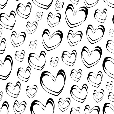 Vector seamless pattern with monochrome hearts.  イラスト・ベクター素材