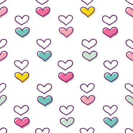 Simple seamless pattern with cute hearts. Vector illustration with outlines hearts.