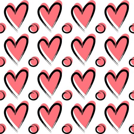 Hand drawn seamless pattern with hearts and dots.