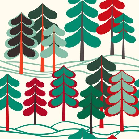 Seamless vector pattern with trees in retro colors.