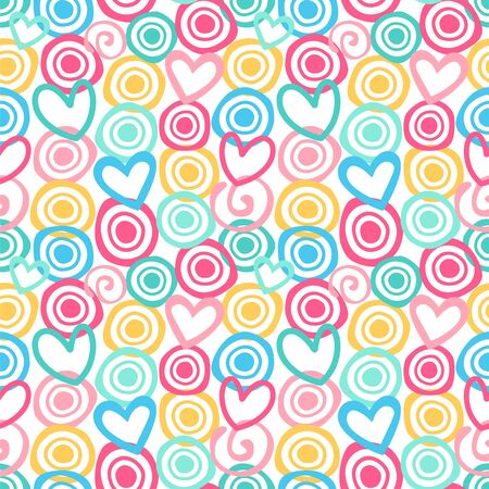 Seamless vector pattern with circles, hearts and swirls in a cute color palette.
