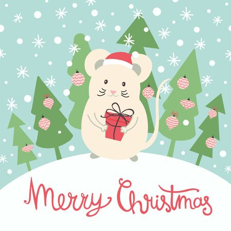 Christmas vector template for greeting card, poster, banner. Illustration with white mouse - a symbol of 2020 New Year. Stock Vector - 134675622