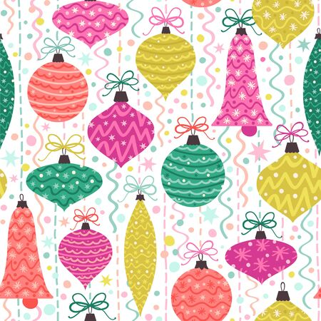 Seamless vector pattern with Christmas ornaments in bright colors.