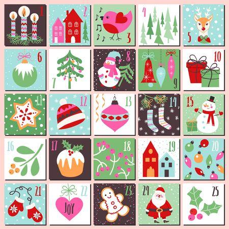 Kerst adventskalender. Verzameling van vectorsjablonen voor het ontwerp van het kerstthema.