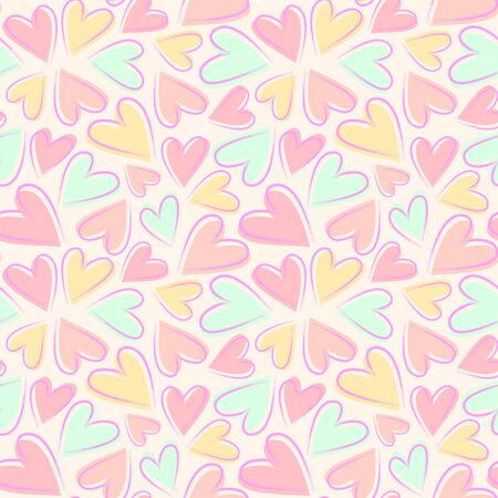 Seamless vector pattern with hearts in pastel colors.  イラスト・ベクター素材