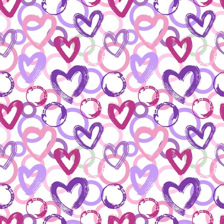 Seamless vector pattern with circles and hearts.