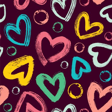 Seamless vector pattern with brush strokes hearts and circles on a dark background.