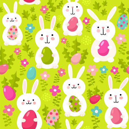 Seamless vector pattern with cute rabbits and easter eggs. Happy Easter illustration with bunnies.