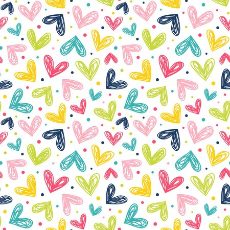 Hearts and dots in doodle style. Seamless vector pattern in bright color palette.