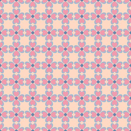 Seamless vector pattern with stylized flowers and hearts. Retro colors. Can be used for wallpaper, pattern fills, web page background, fabric, scrapbooking, wrapping paper.