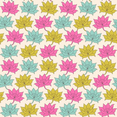 Seamless vector pattern with decorative lotus flowers. 向量圖像