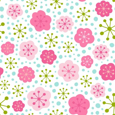 Seamless vector pattern with stylized flowers. Floral background. 向量圖像