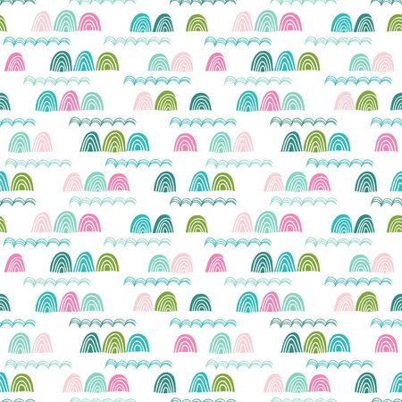 Seamless pattern with stylized cliffs and waves. Cute vector background with stylish rocks great for fabric, wallpaper, wrapping paper, kids theme.