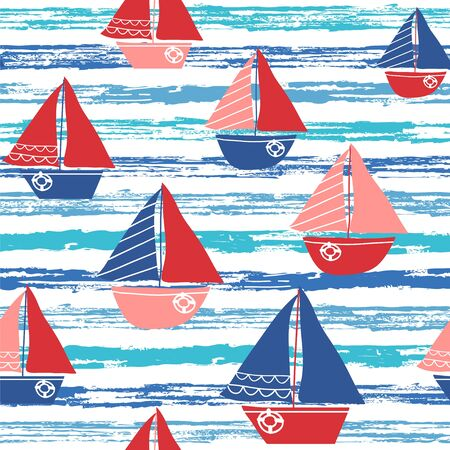 Seamless vector pattern with sailboats and stylized waves. Marine background.