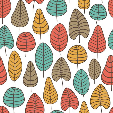 Seamless vector pattern with stylized leaves.