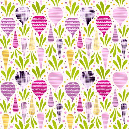 Seamless pattern with beetroots and carrots. Vector illustration with stylized vegetables.