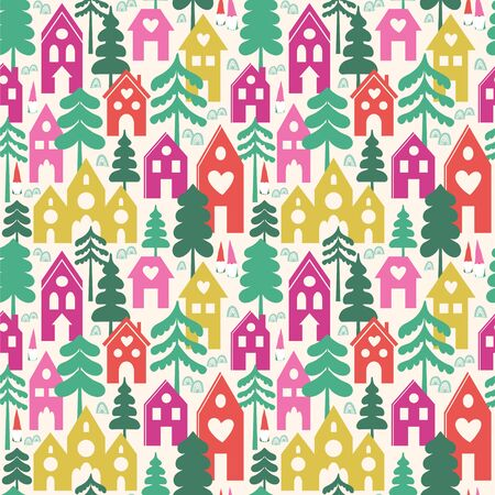 Seamless vector pattern with houses, trees and gnomes. Vettoriali