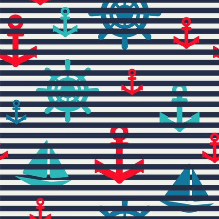 Marine seamless pattern with stripes, anchors and sailboats.