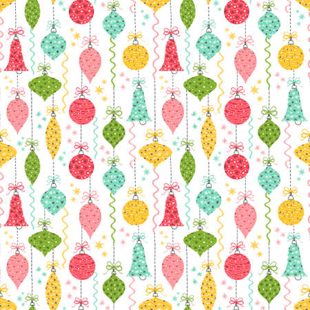 Seamless vector pattern with Christmas baubles and ornaments.