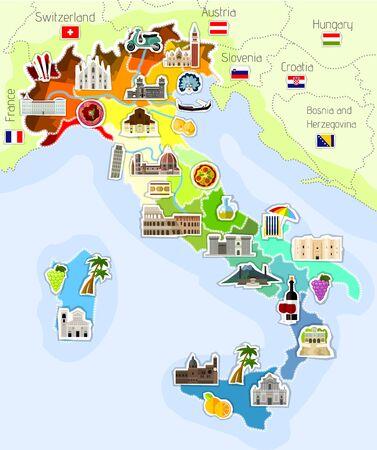 venezia: map of Italy Illustration