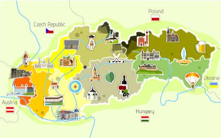 Kaart van Slowakije.