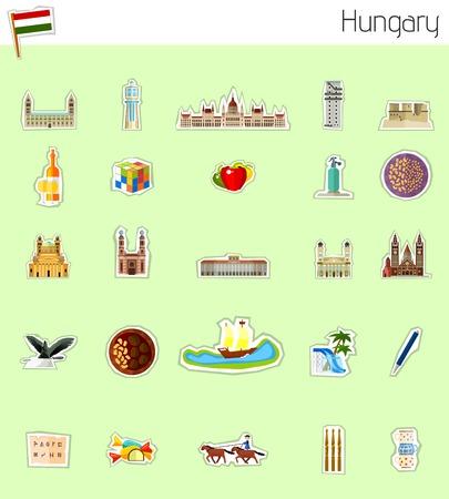 Pictogrammen van Hongarije Stock Illustratie