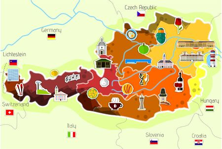 map of austria Ilustrace