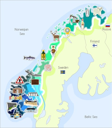 Map of Norway with the most important buildings and landmarks.
