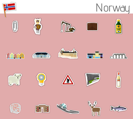 Icons of Norway with buildings, landmarks, and most important things.