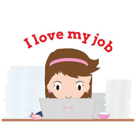 exalted: Business woman working with notebook and word I love my job on white background