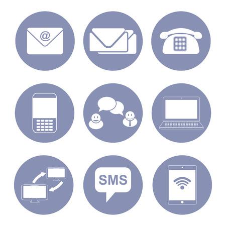 business communication: Business communication icon set, collection for design presentation in vector Illustration