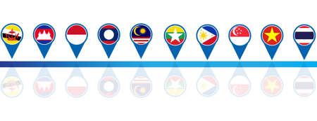 asean: ASEAN Economic Community, AEC business forum, for design present template header background in vector Illustration