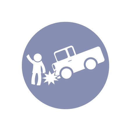 toxic accident: Accident icon Symbol Sign Pictogram, Insurance safety concept pictogram in vector, people crashed by car