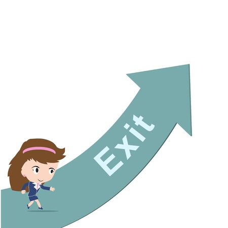 escape plan: Happy business woman running on green arrow with word Exit, road to success concept, presented in vector form