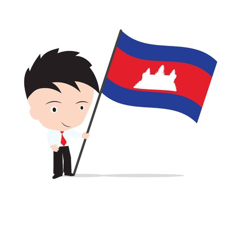 seaa: AEC, Businessman standing and, holding flag of Cambodia Illustration