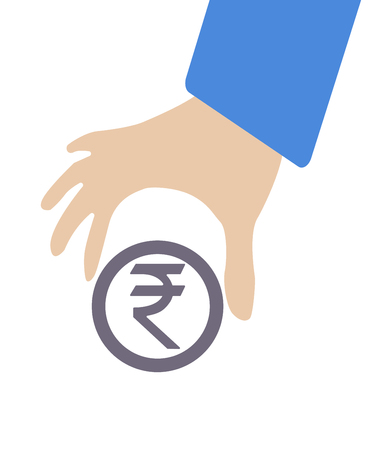 foreign exchange rates: Human hand grabbing currency Rupee symbol