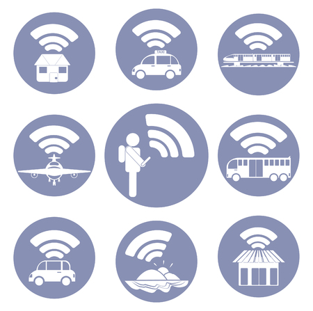 connectivity concept: WiFi connection everywhere icon pictogram for presentation in vector, BYOD connectivity concept