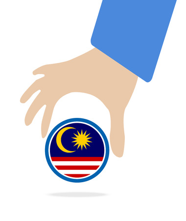 seaa: businessman hand with Malaysia flag Illustration