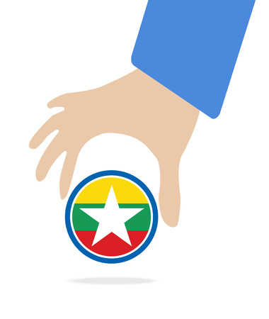 seaa: businessman hand with Myanmar flag Illustration