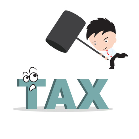 smash: Businessman holding hammer and aiming to smash the wording TAX, reduce costing concept Illustration