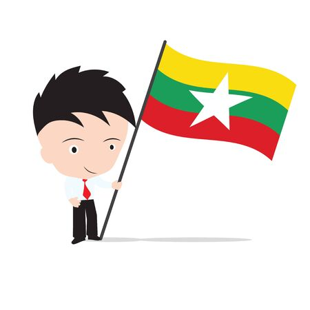 Businessman standing and, holding flag of Myanmar concept isolated on white background Illustration