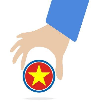 manos unidas: empresario de la mano con la bandera de Vietnam