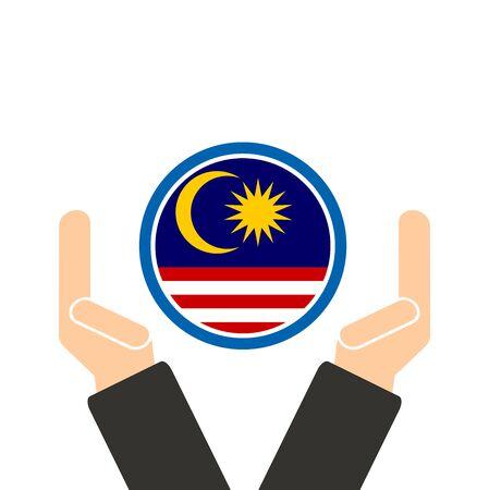 manos unidas: empresario de la mano con la bandera de Malasia