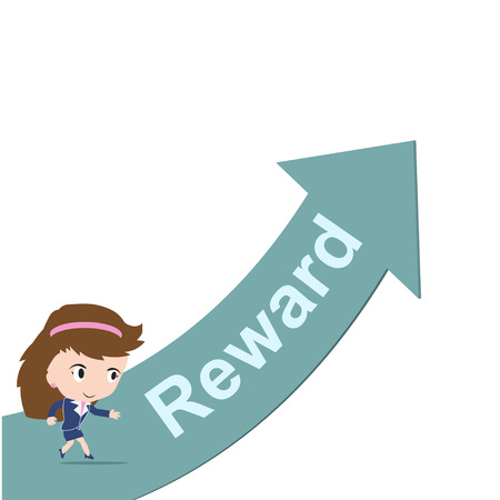 happy business woman: Happy business woman running on green arrow with word Reward, Business growth, success concept
