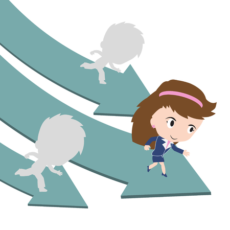 happy business woman: Happy business woman running on green arrow road with competition, leader concept, presented in vector form