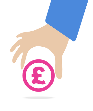 pound symbol: Human hand keep currency Pound symbol for market and stock money exchange concept in vector