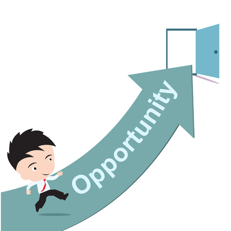 aspirational: businessman happy to running on green arrow and open door with word Opportunity, road to success concept, presented in vector form