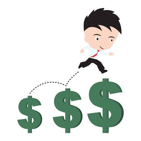 vigor: businessman happy to walk or jumping and running up over growing money dollar sign trend, financial concept, presented in vector form