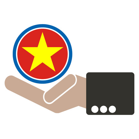 seaa: businessman hand with Vietnam flag