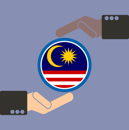 asian business team: businessman hand with Malaysia flag Illustration